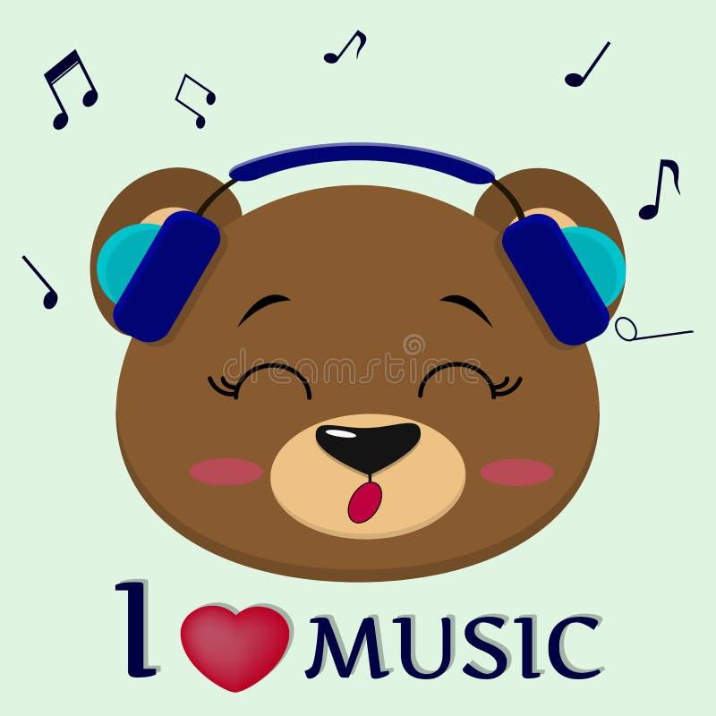 Bär ist ein brauner Musiker, der Lieder singt Gehen Sie in den blauen Kopfhörern mit geschlossenen Augen, im Stil der Karikaturen lizenzfreie abbildung