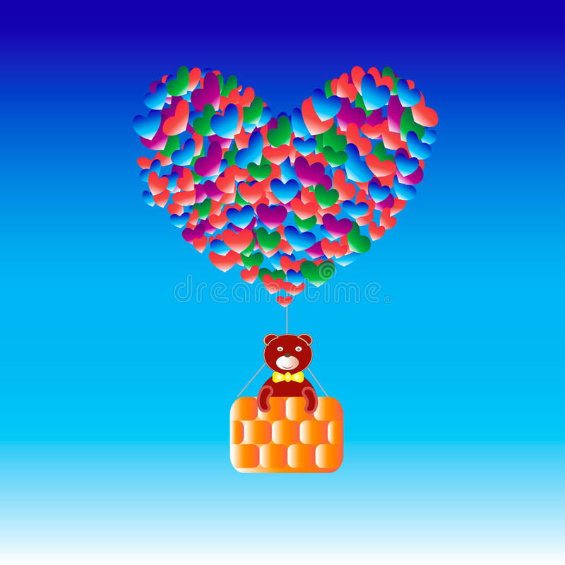 Bär mit Ballone Herzen lizenzfreie stockfotos