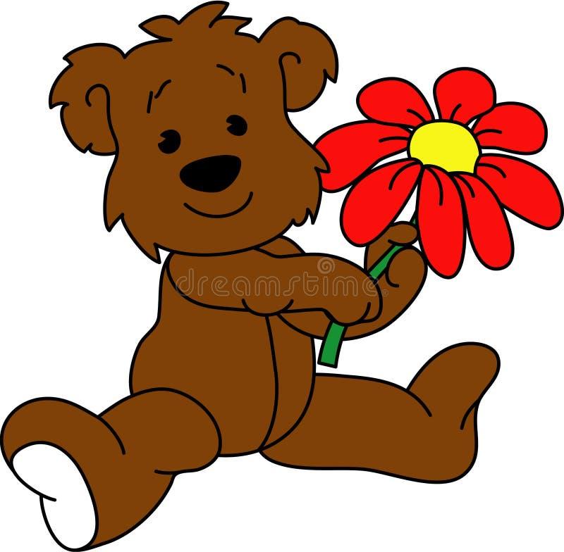 Bär mit Blume stockfotos