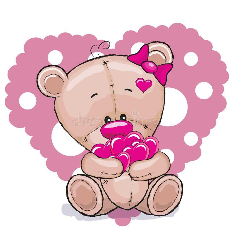 Bär mit Herzen stock abbildung