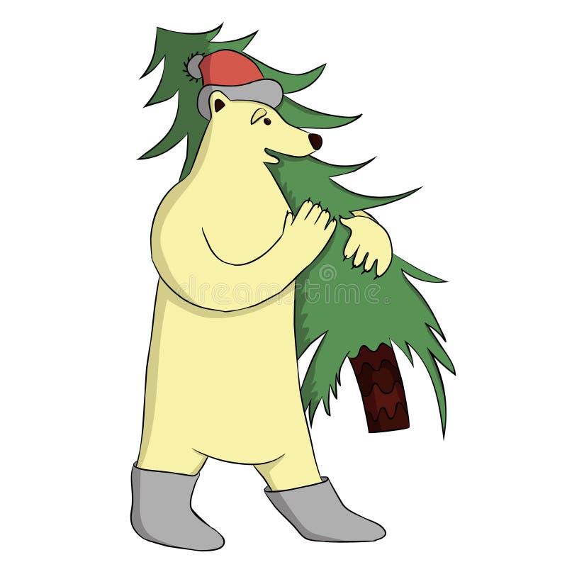 Bär mit Weihnachtsbaum stockbild