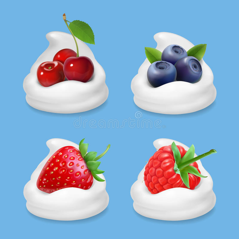 Bär och yoghurt Realistisk uppsättning för illustrationvektorsymbol vektor illustrationer