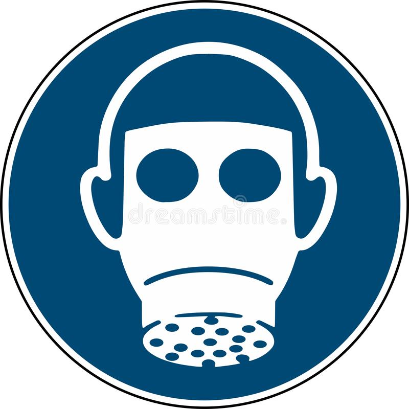 Bär respiratoriskt skydd - obligatorisk teckeniso 7010 royaltyfri illustrationer