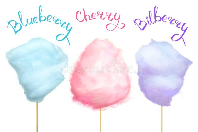Bär-smaksatt sockervadd på pinneillustration stock illustrationer