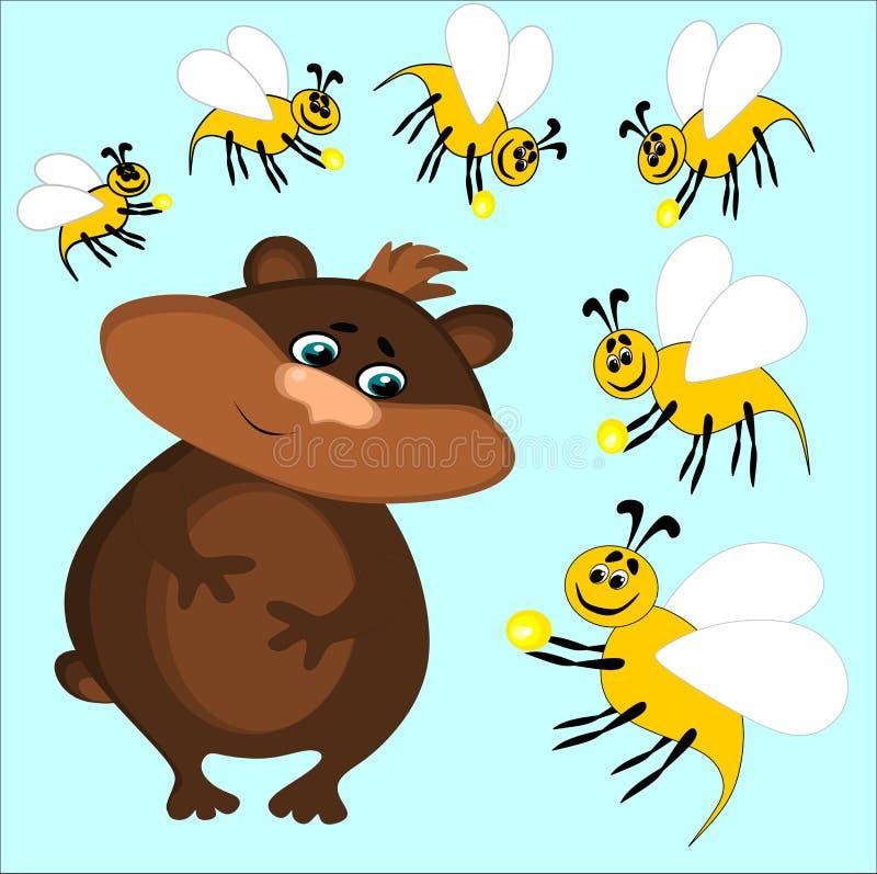 Bär und Bienen, auf denen die Bienen Nektar oder Honig zum Bären, Geschenk, Freundschaft tragen, Bonbons lizenzfreie abbildung