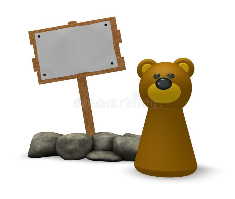 Bär und leeres Holzschild lizenzfreie abbildung