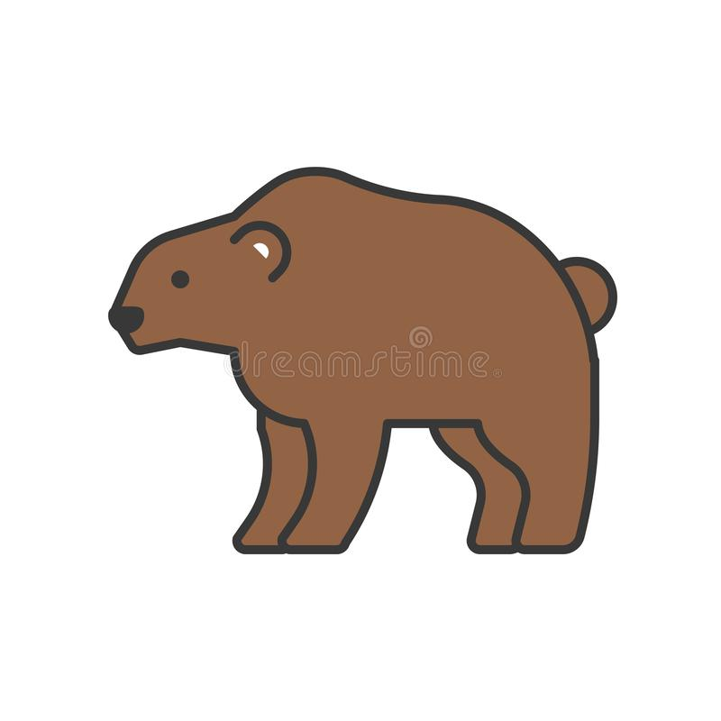 Bär, Waldtier im Zooikonensatz, füllte Entwurfsentwurf stock abbildung