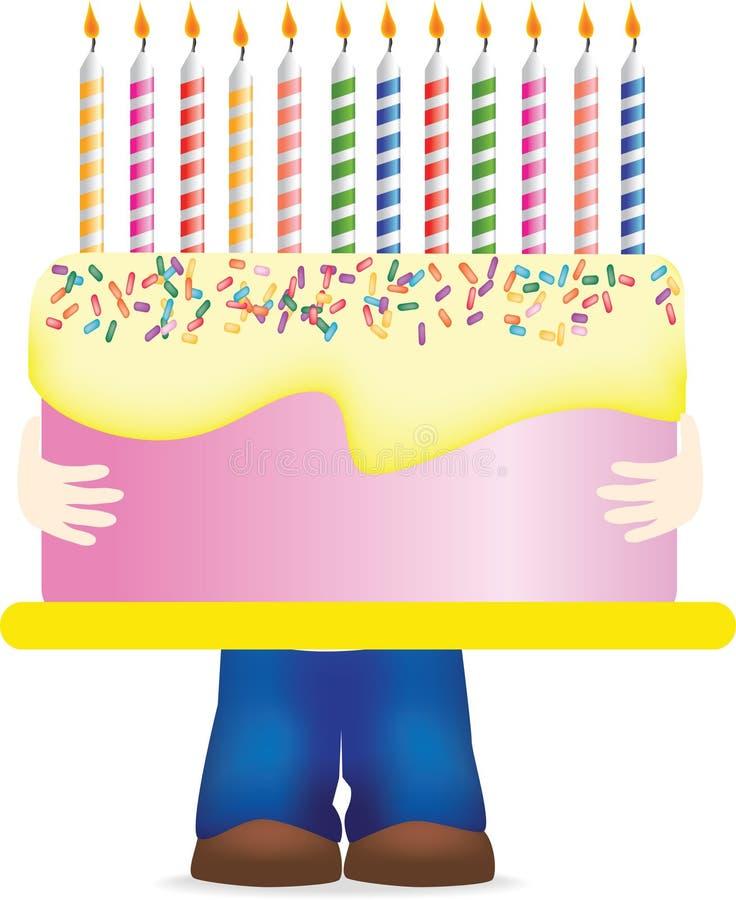 bära för födelsedagcake som är enormt stock illustrationer