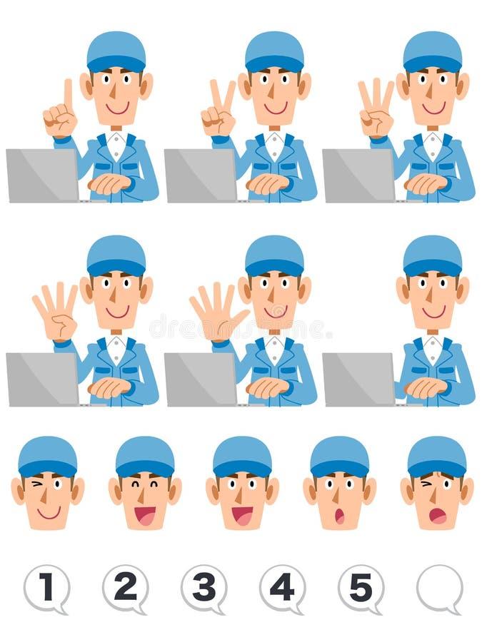 Bära för man blå funktionsduglig kläder som räknar nummer med hans fingrar, medan fungera en persondator, en uppsättning av ansik stock illustrationer