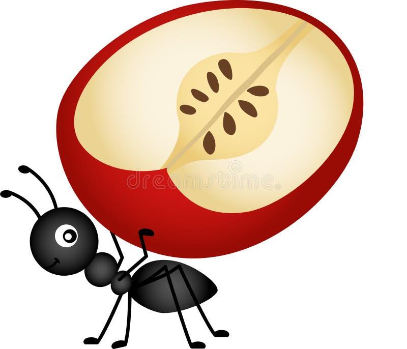 Bärande äppleskiva för myra royaltyfri illustrationer