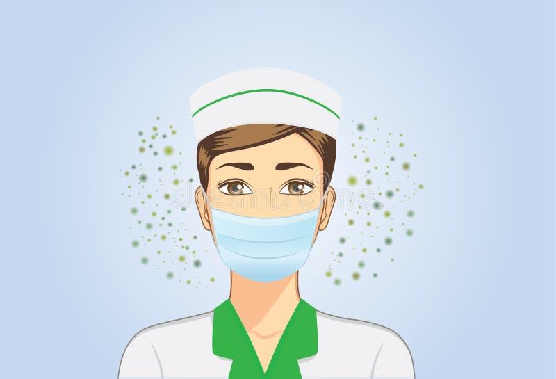 Bärande andedräktmaskering för sjuksköterska när henne som arbetar royaltyfri illustrationer