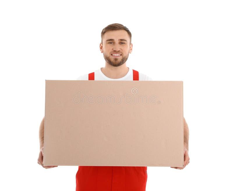 Bärande ask för ung arbetare som isoleras på vit moving arkivbild