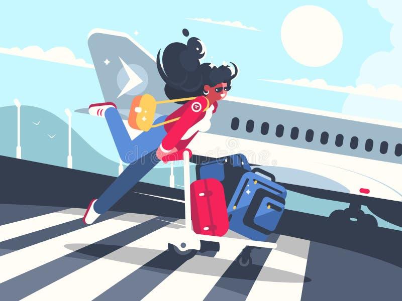 Bärande bagage för flicka på spårvagnar för flyg vektor illustrationer