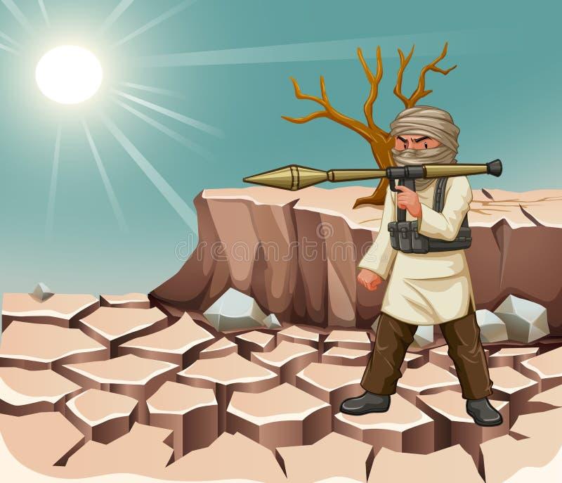 Bärande bazooka för terrorist på dagen vektor illustrationer