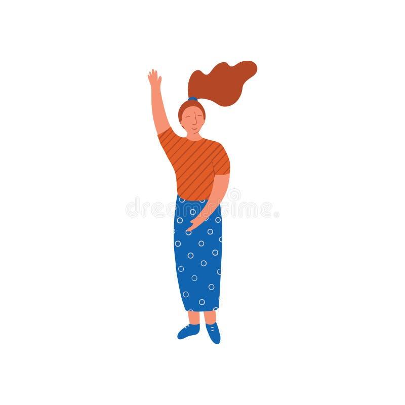 Bärande blus för ung kvinna och lång kjol som står med hennes hand lyftta vektorillustration vektor illustrationer