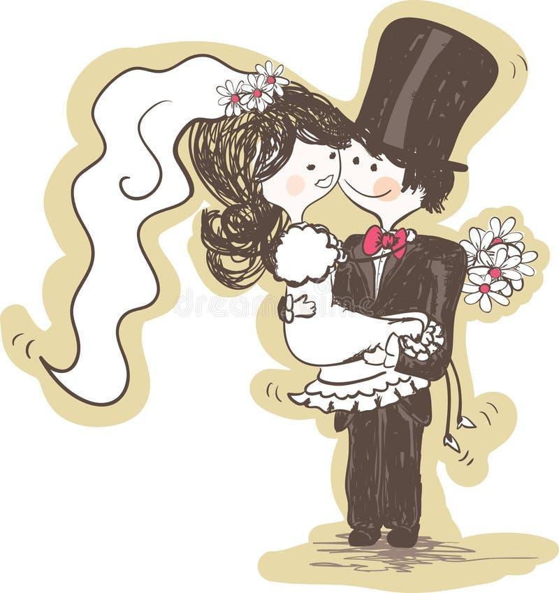 bärande brudgumbröllop för brud vektor illustrationer