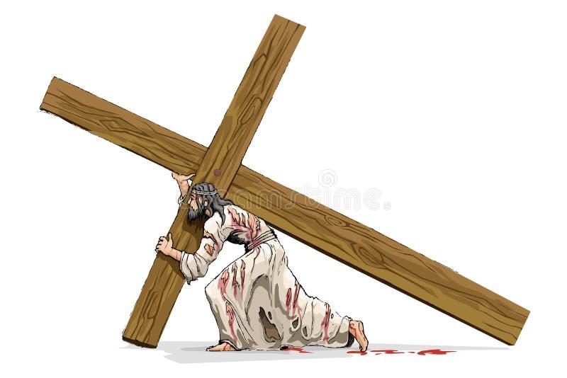bärande christ kors jesus royaltyfri illustrationer