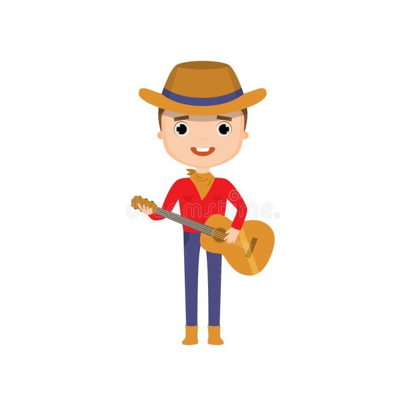 Bärande cowboykläder för grabb som spelar gitarren som isoleras på vit bakgrund stock illustrationer