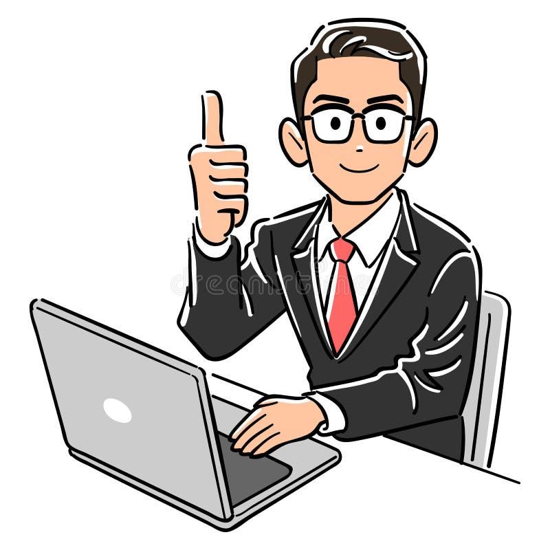Bärande exponeringsglas för en affärsman som fungerar upp tummar för en persondator royaltyfri illustrationer