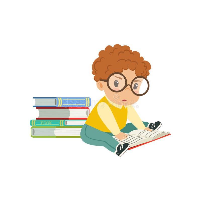Bärande exponeringsglas för gulligt smart pystecken som sitter på golvet och läsningen en bokvektorillustration på en vit stock illustrationer