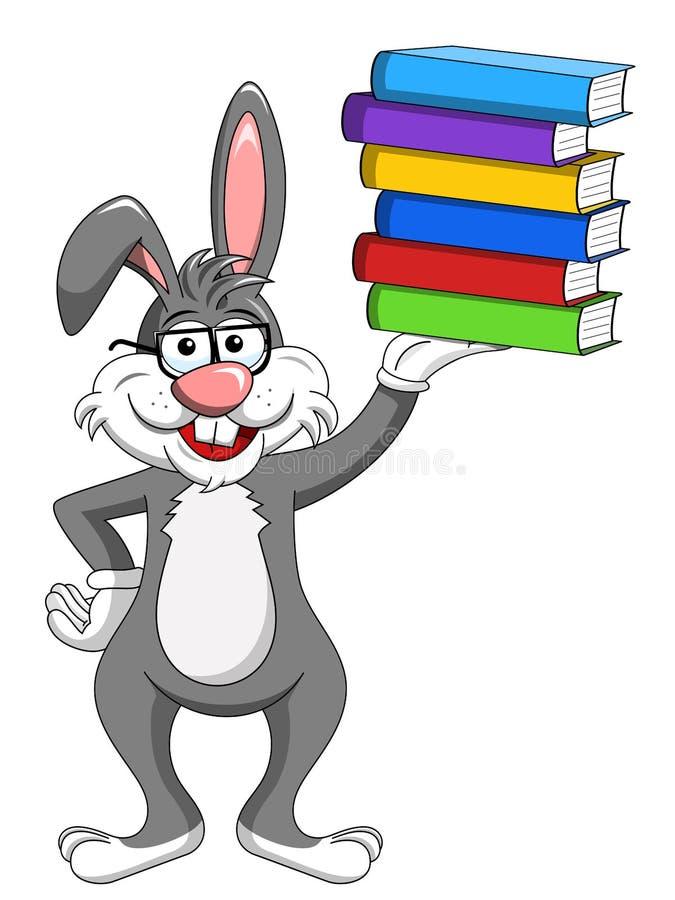 Bärande exponeringsglas för kaninkanin som rymmer bunten av böcker royaltyfri illustrationer