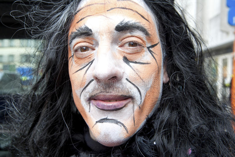 Bärande facepaint för man, Belgien royaltyfri bild