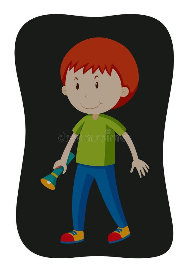 Bärande ficklampa för pojke i mörkret royaltyfri illustrationer