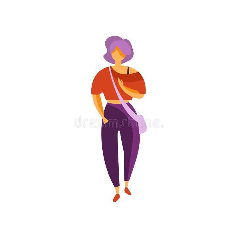 Bärande flåsanden för stilfull flicka och blus, elegant trendig ung kvinna i modern klädvektorillustration på en vit vektor illustrationer
