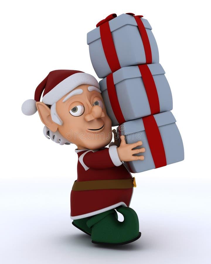 Bärande gåvor för julälva royaltyfri illustrationer