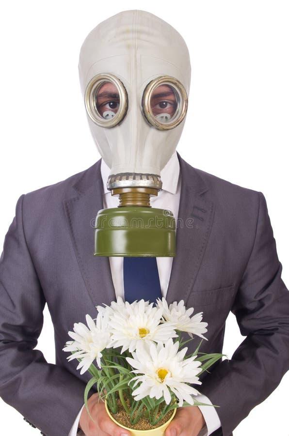 Bärande gasmask för affärsman royaltyfri foto