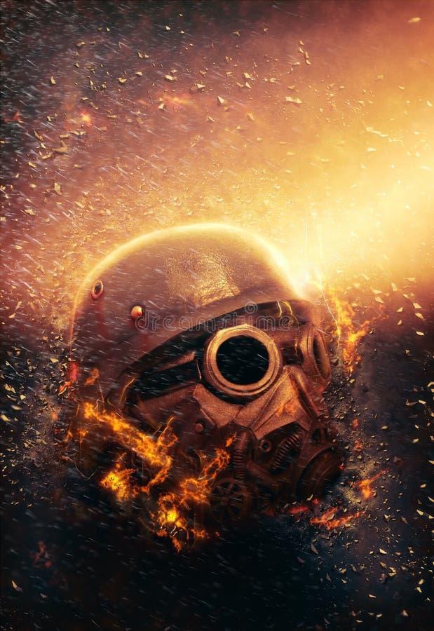 Bärande gasmask och hjälm för soldat   Apokalyps arkivfoto