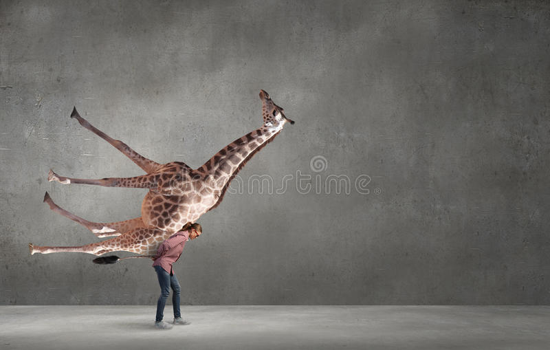 Bärande giraff för flicka royaltyfri foto