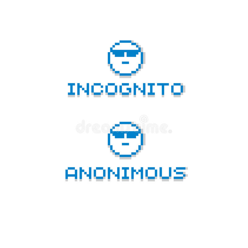 Bärande glasögon för anonym personlighet Gjort retro tecken för vektor royaltyfri illustrationer