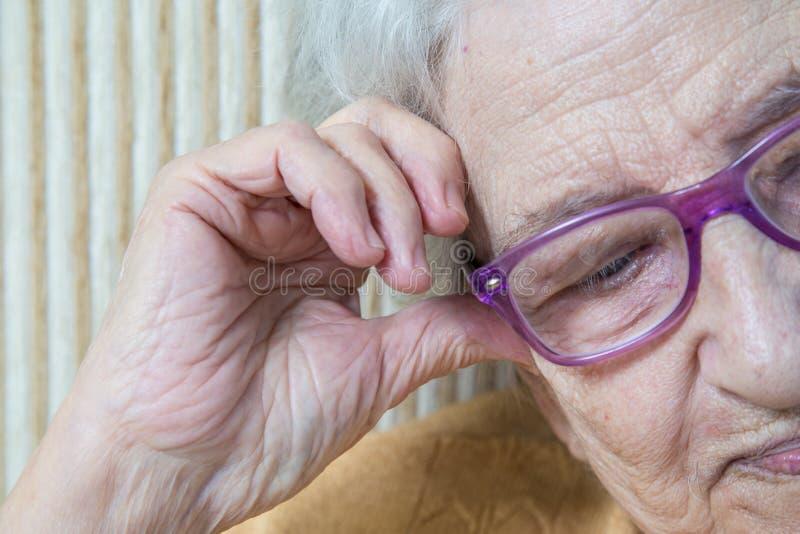 Bärande glasögon för hög kvinna royaltyfria bilder