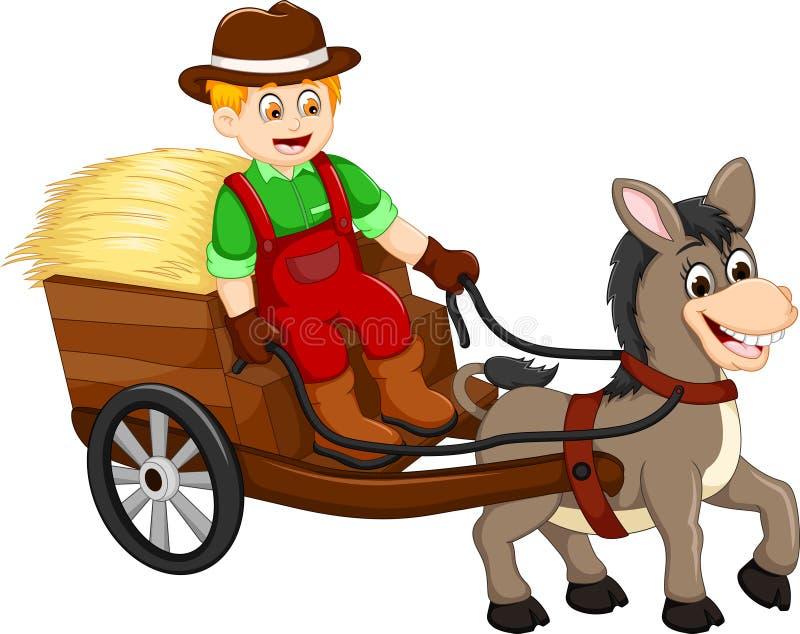 Bärande gräs för rolig bondetecknad film med den häst drog vagnen stock illustrationer