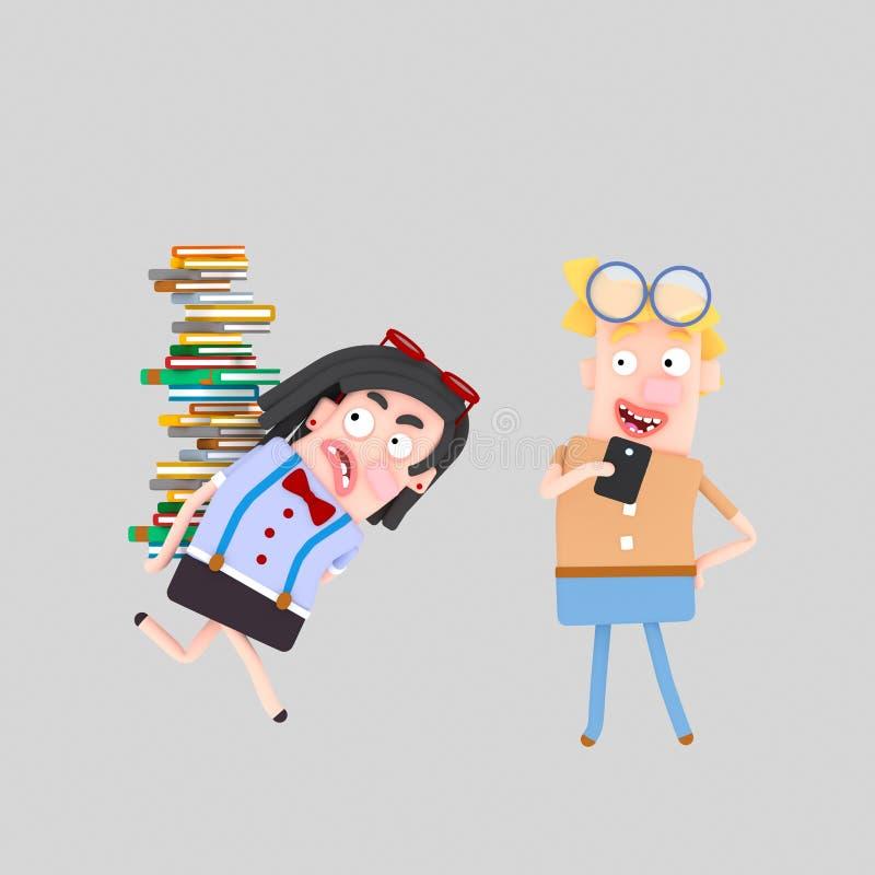 Bärande hög för student av böcker 3d royaltyfri illustrationer