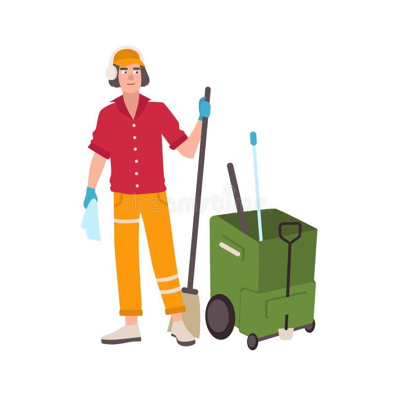 Bärande hörlurar för ung man och enhetligt anseende bredvid golvmopphinkvagnen och rymmakvasten Manlig rengörande servicearbetare vektor illustrationer