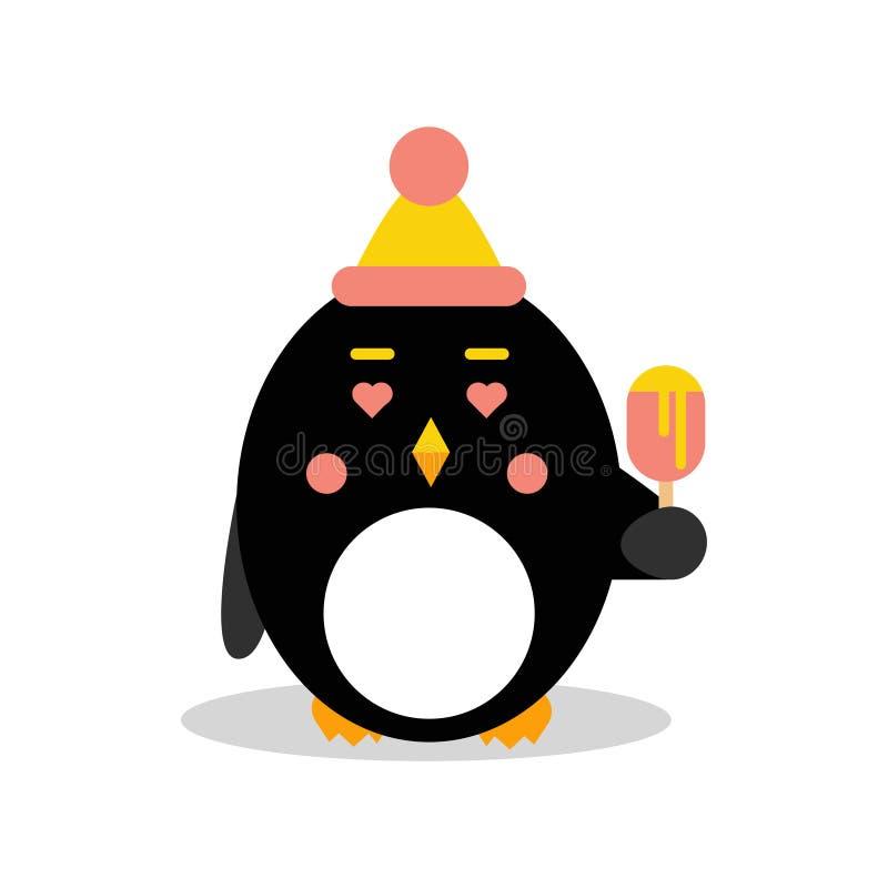 Bärande hatt för gulligt tecknad filmpingvintecken och ätaglass, rolig fågel i geometrisk formvektorillustration royaltyfri illustrationer