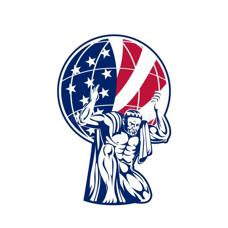 Bärande jordklot för kartbok med USA flaggan royaltyfri illustrationer
