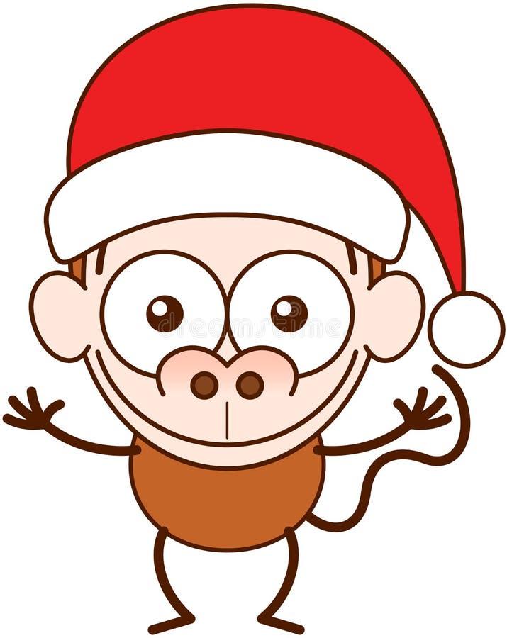 Bärande jultomtenhatt för gullig apa och firajul stock illustrationer