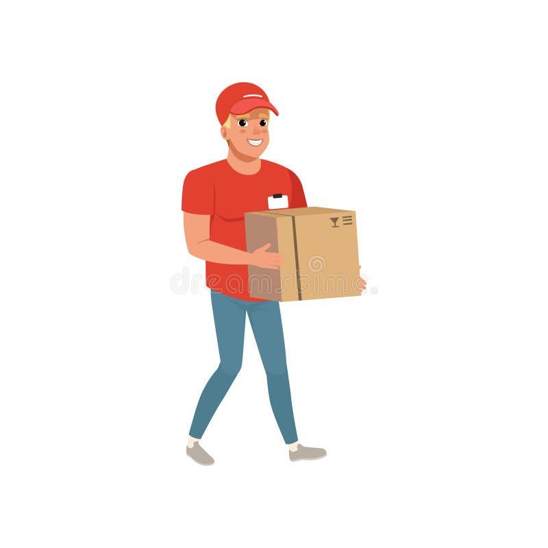 Bärande kartong för tecknad filmleveransman Le kurirteckenet i funktionsduglig enhetlig röd t-skjorta, lock och blått royaltyfri illustrationer