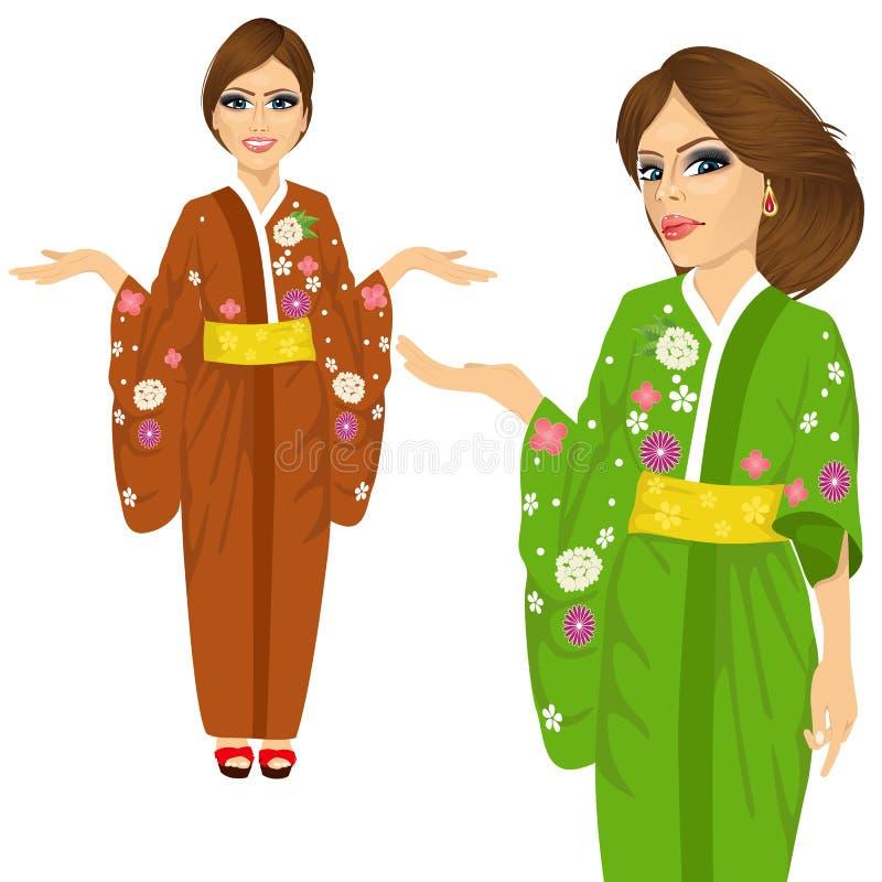 Bärande kimono för attraktiv japansk kvinna stock illustrationer