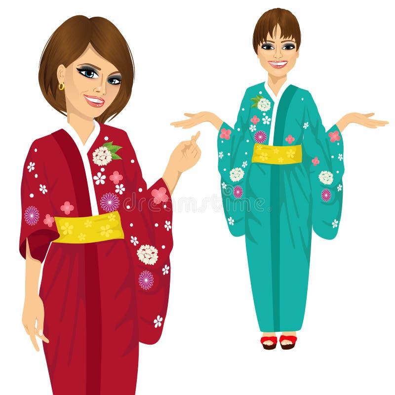 Bärande kimono för attraktiv japansk kvinna med blommor som pekar och rymmer något stock illustrationer