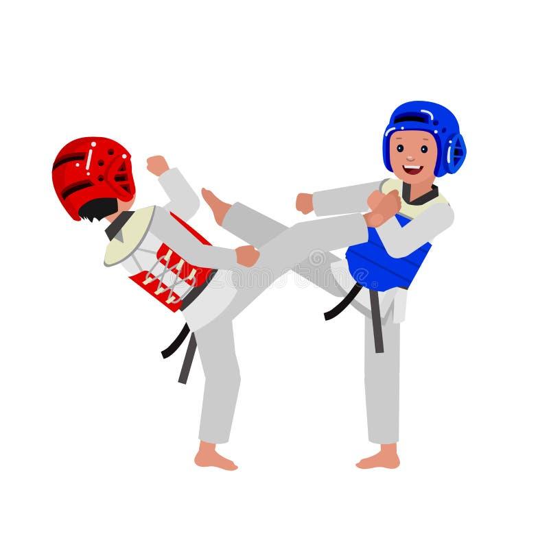 Bärande kimono för tecknad filmunge, kampsport stock illustrationer