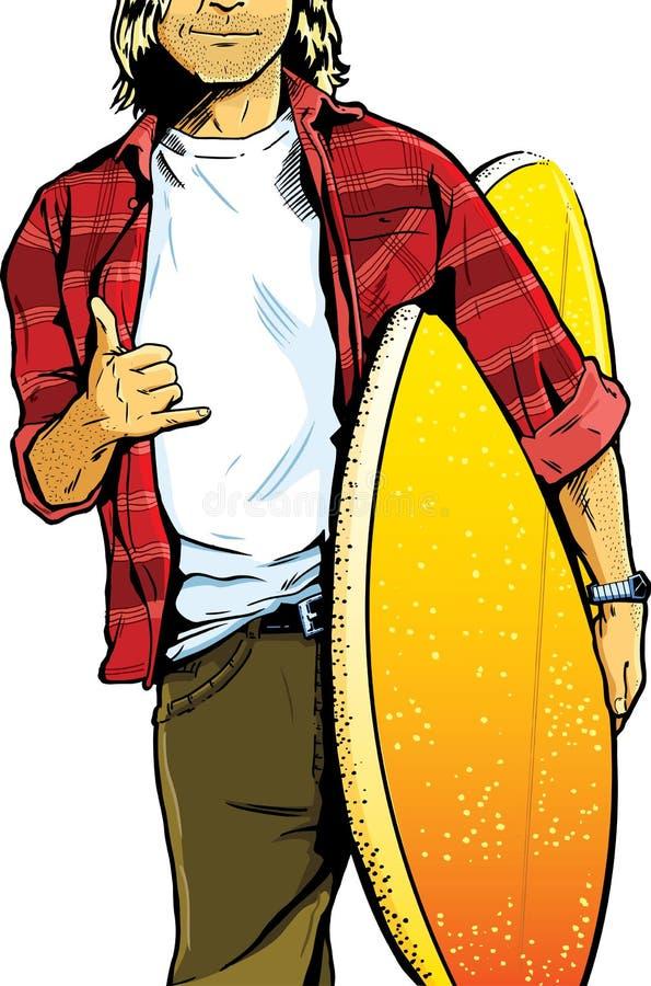 bärande male surfingbrädasurfare för dude stock illustrationer