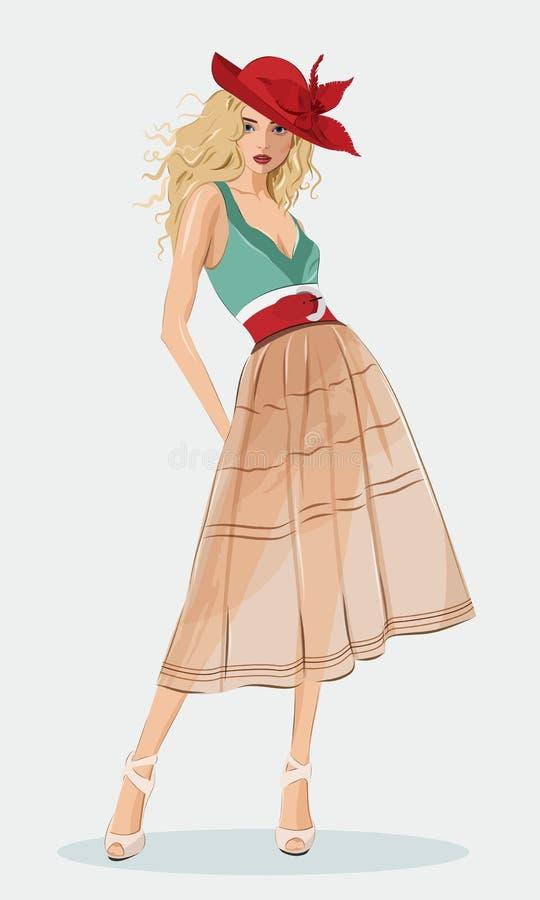 Bärande modekläder för stilfull härlig flicka och röd hatt Detaljerad gullig grafisk kvinna Text och teckning av flickan vektor illustrationer