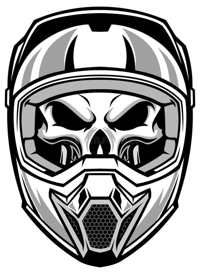 Bärande motocrosshjälm för skalle vektor illustrationer