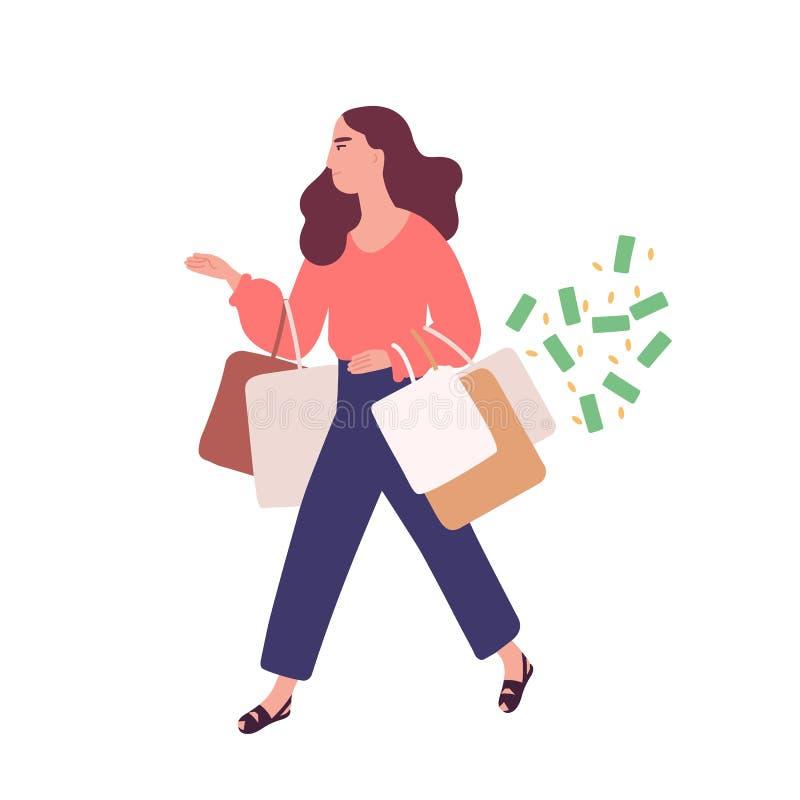 Bärande påsar för rolig kvinna med köp Begrepp av att shoppa böjelse, shopaholic uppförande Mentalsjukdom som är beteende- vektor illustrationer