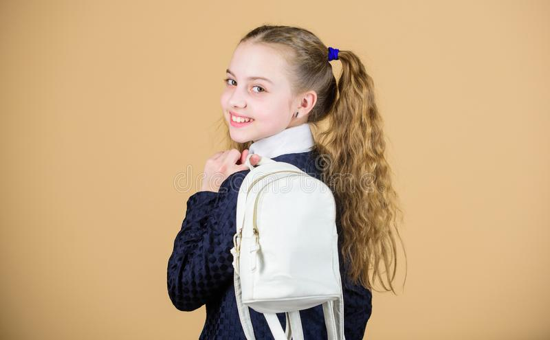 Bärande saker i ryggsäck Skolflickahästsvansfrisyr med den lilla ryggsäcken Lär hur den färdiga ryggsäcken korrekt flicka arkivbilder