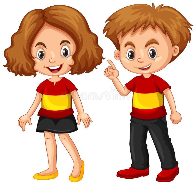 Bärande skjorta för pojke och för flicka med den Spanien flaggan stock illustrationer